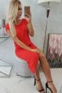 Raudona suknelė trumpom rankovėm