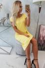 Geltona suknelė trumpom rankovėm