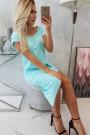 Mėtos spalvos suknelė trumpom rankovėm