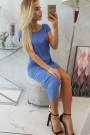 Mėlyna suknelė trumpom rankovėm