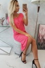 Rožinė suknelė trumpom rankovėm