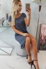 Tamsiai pilka suknelė trumpom rankovėm