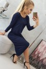 Tamsiai mėlyna suknelė su 3/4 rankovėmis
