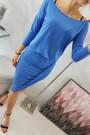 Mėlyna suknelė su 3/4 rankovėmis