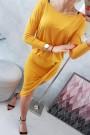 Medaus spalvos suknelė su 3/4 rankovėmis