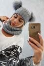 Pilkas dviejų dalių komplektas kepurė+šalikas