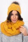 Medaus spalvos dviejų dalių komplektas kepurė+šalikas