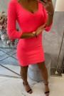 Ryškiai rožinė trumpa suknelė