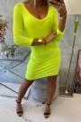 Ryškiai geltona trumpa suknelė