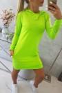 Ryškiai salotinė suknelė su kapišonu