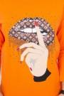 Oranžinė palaidinė su piešiniu