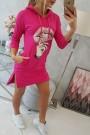 Rožinė suknelė su piešiniu