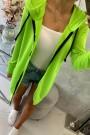 Salotinis neoninis ilgas džemperis su kapišonu