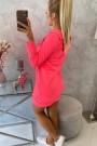Rožinis neoninis ilgas džemperis su kapišonu