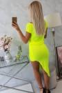 Geltona neoninė suknelė trumpom rankovėm