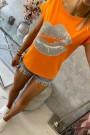 Oranžinė palaidinė trumpom rankovėm