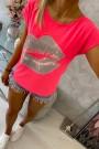 Rožinė neoninė palaidinė trumpom rankovėm