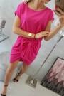 Rožinė suknelė su diržu