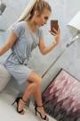 Pilka suknelė su diržu