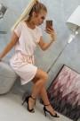 Šviesiai rožinė suknelė su diržu