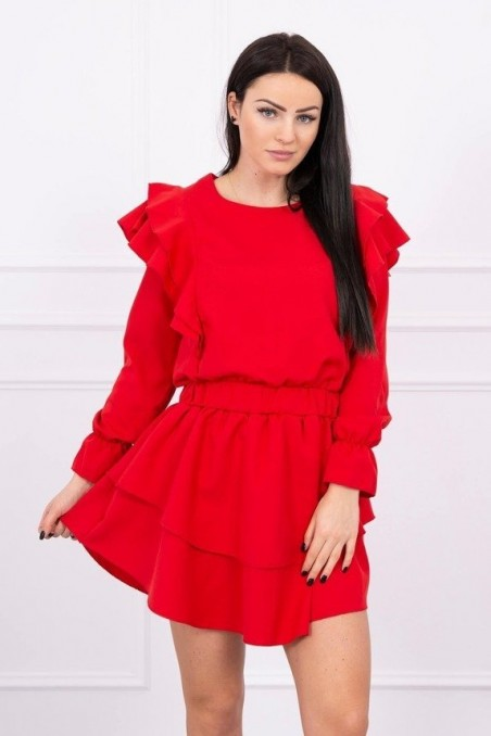 Dress with vertical flounces red