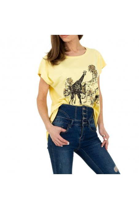 Damen T-Shirt von Glo Story - yellow